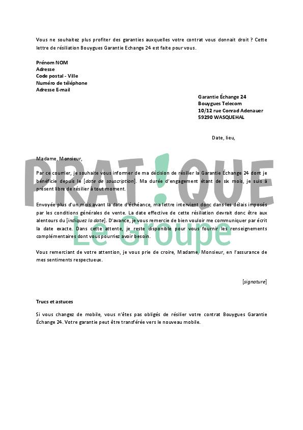 lettre de r u00e9siliation garantie  u00c9change 24