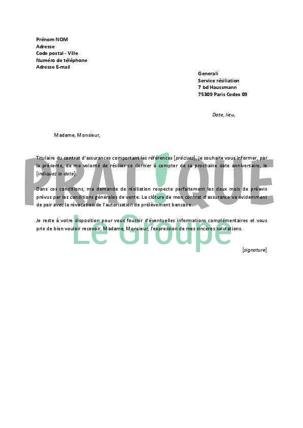 lettre de r u00e9siliation generali assurances