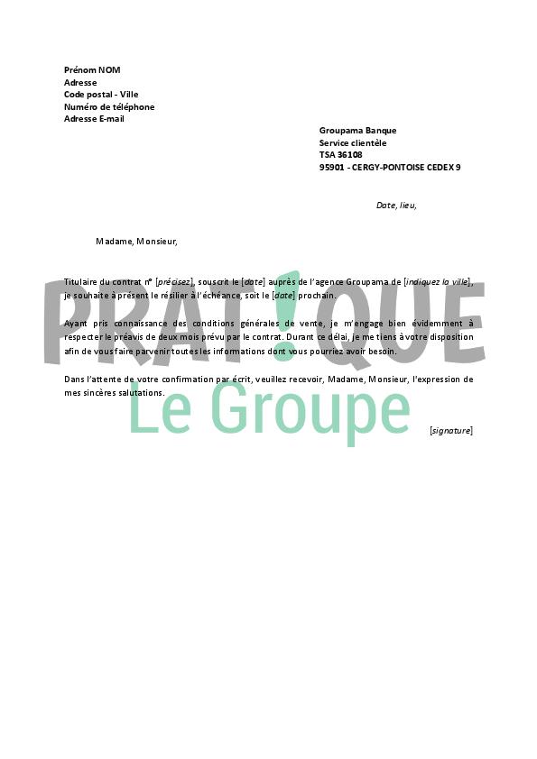 Lettre De Résiliation Groupama Pratique Fr
