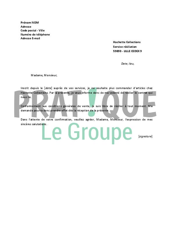 lettre de r u00e9siliation hachette collections