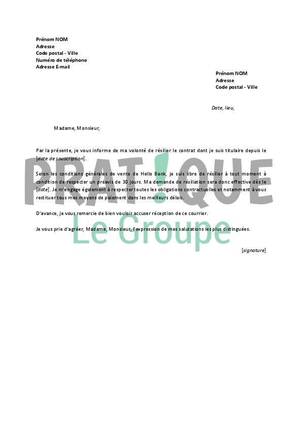Lettre De Resiliation Hello Bank Pratique Fr