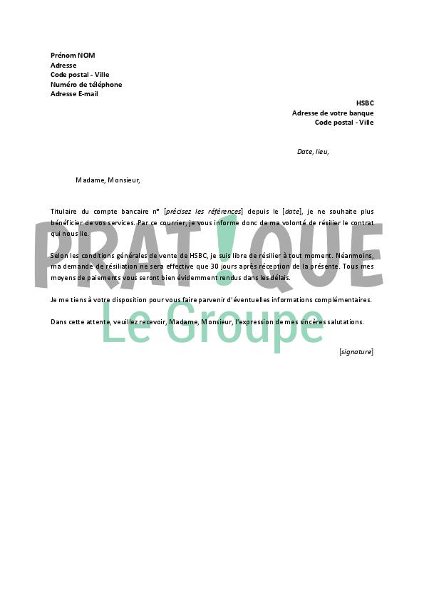 Lettre De Resiliation Hsbc Pratique Fr