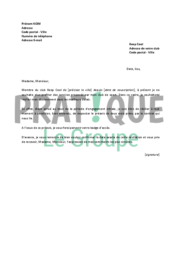 modele lettre resiliation fitness park document