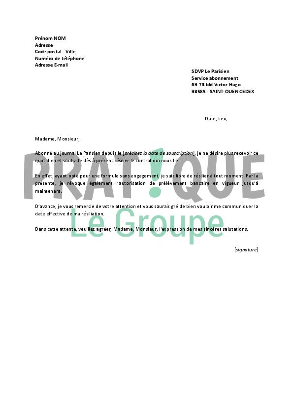 lettre de r u00e9siliation le parisien