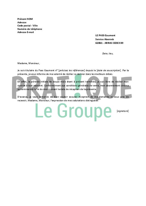 lettre de r u00e9siliation le pass gaumont