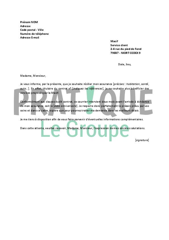 lettre de r u00e9siliation macif