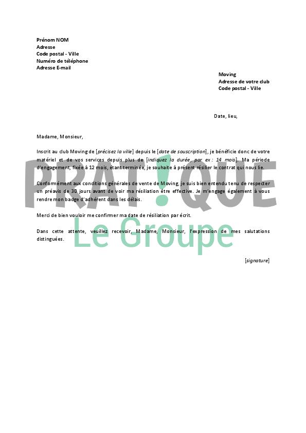 Lettre De Résiliation Moving Pratique Fr