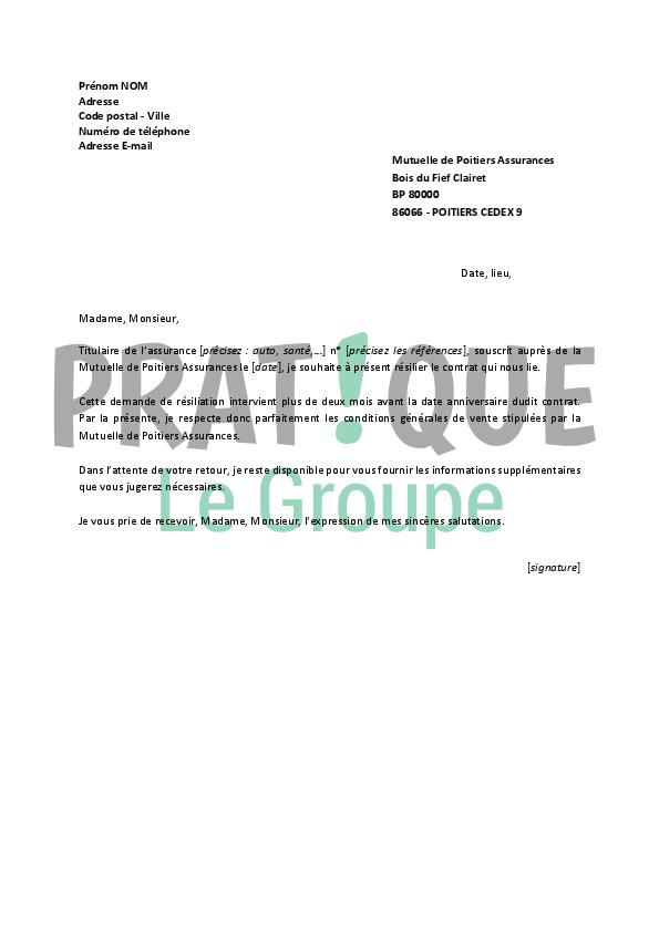 Lettre de r siliation mutuelle de poitiers assurances - Resiliation contrat assurance voiture ...