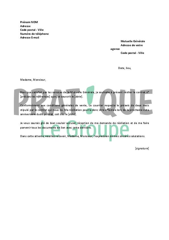 lettre de r u00e9siliation mutuelle g u00e9n u00e9rale