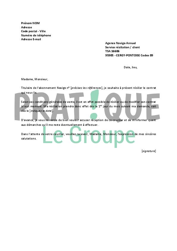 lettre de r u00e9siliation navigo