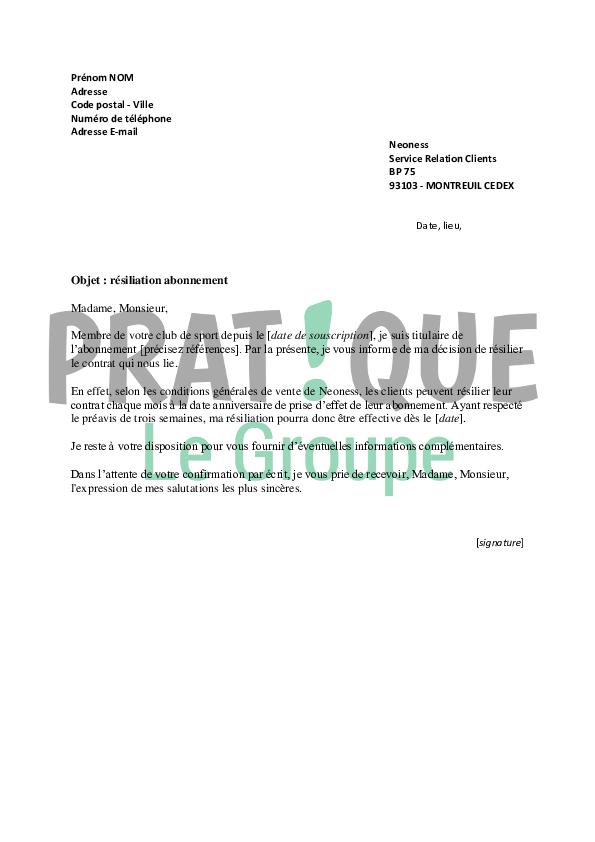 lettre de r u00e9siliation neoness