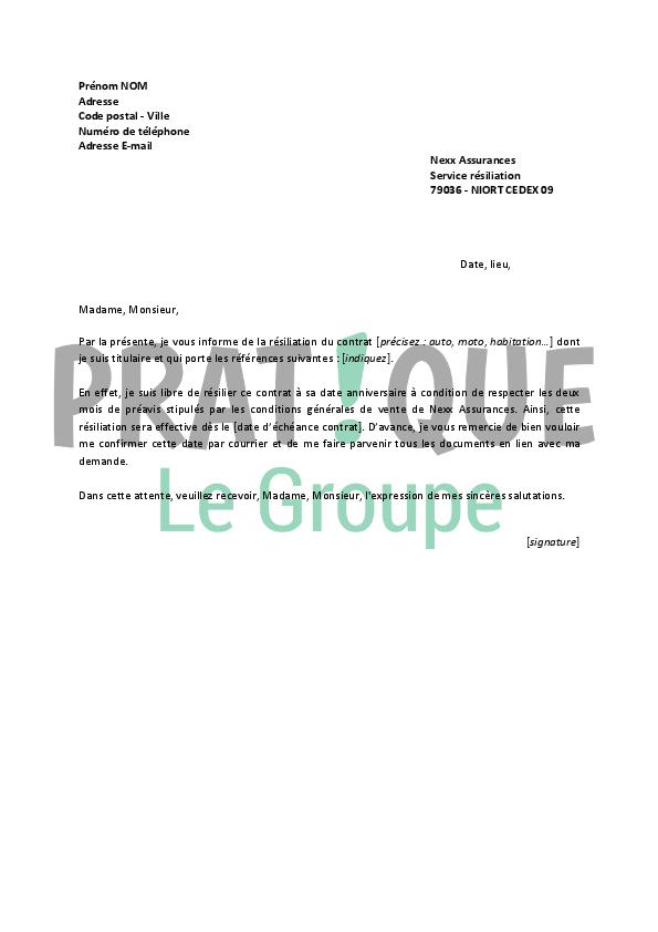 lettre de r u00e9siliation nexx assurances
