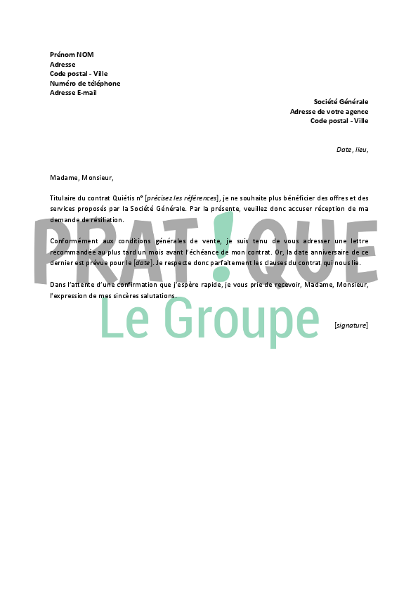 Modele Lettre Resiliation Contrat Quietis Document Online