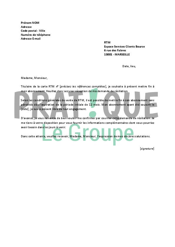 lettre de r u00e9siliation rtm