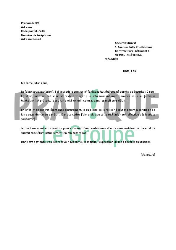 lettre de r u00e9siliation securitas
