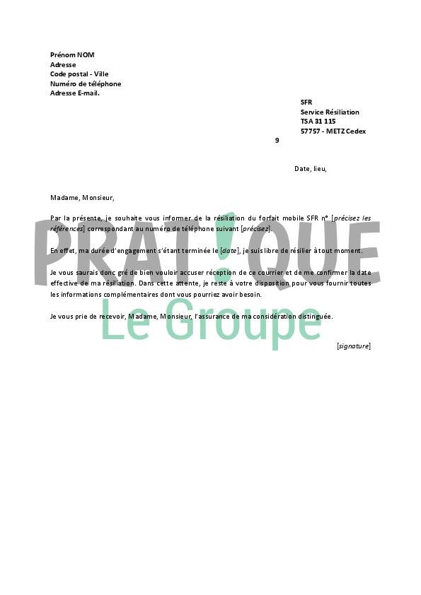 Lettre De Résiliation Sfr Pratique Fr