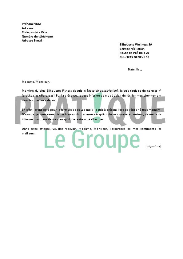 lettre de r u00e9siliation silhouette fitness