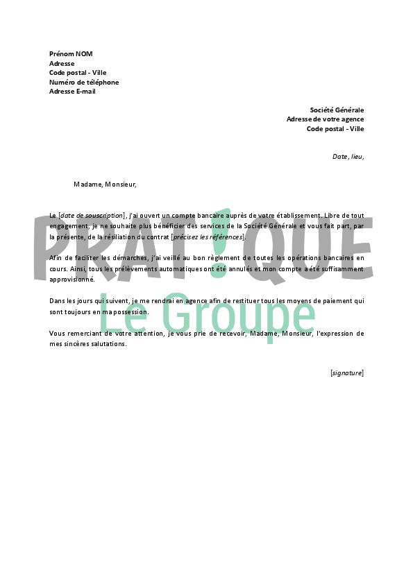 Lettre De Resiliation Societe Generale Pratique Fr