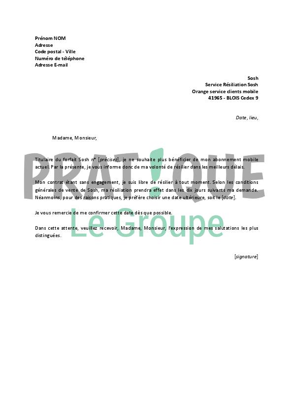 Lettre De Résiliation Sosh Pratique Fr
