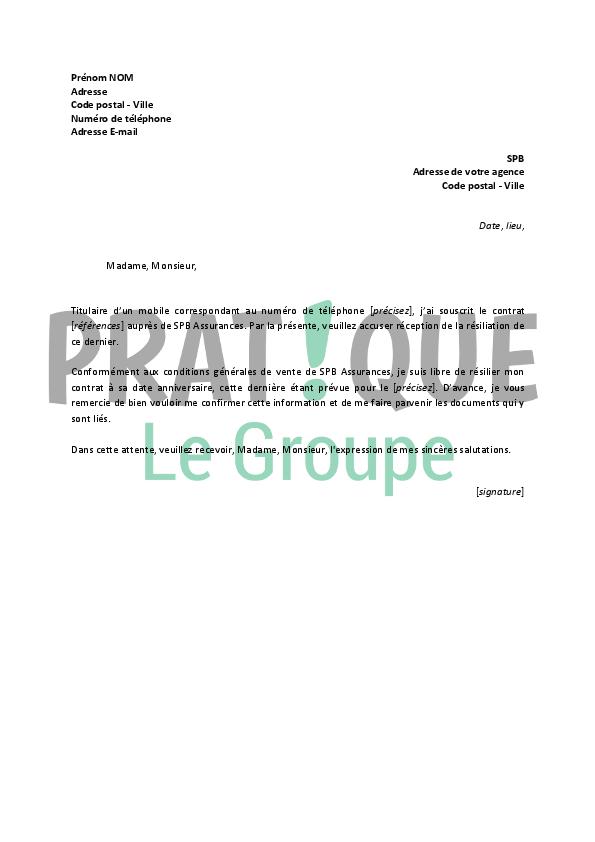 lettre de r u00e9siliation spb assurance