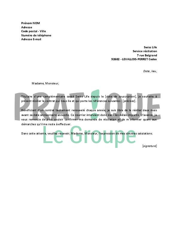 Lettre De Resiliation Swiss Life Pratique Fr