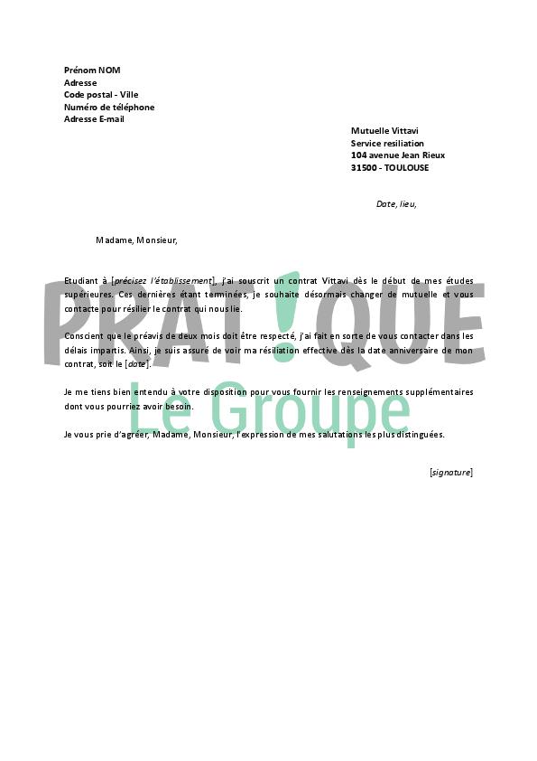Lettre De Resiliation Vittavi Pratique Fr