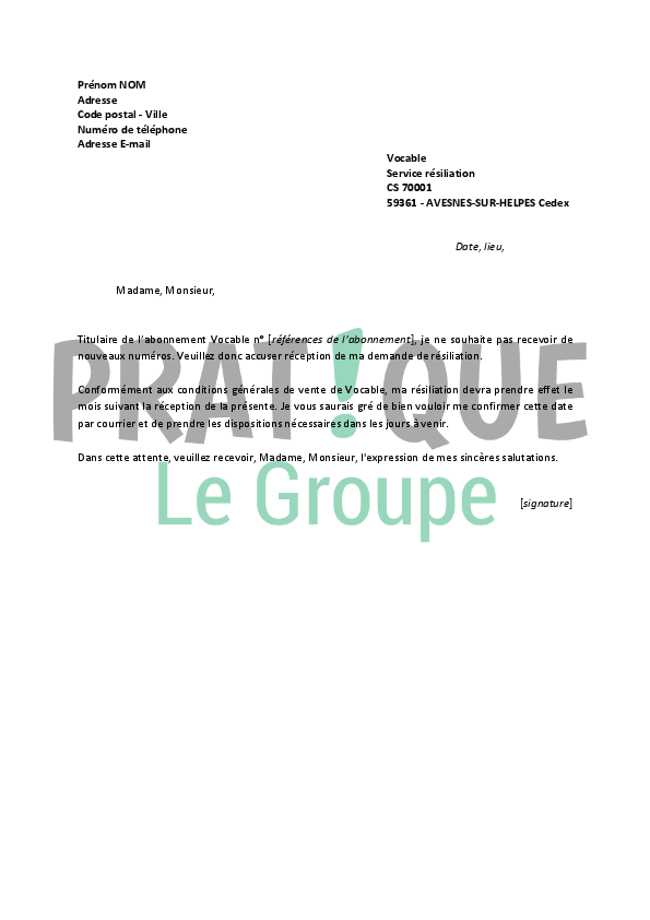 Modele lettre resiliation facet document online - Demande de carte aurore ...