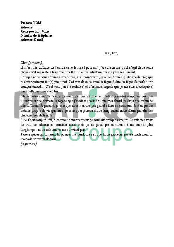 Lettre de rupture (relation courte)   Pratique.fr