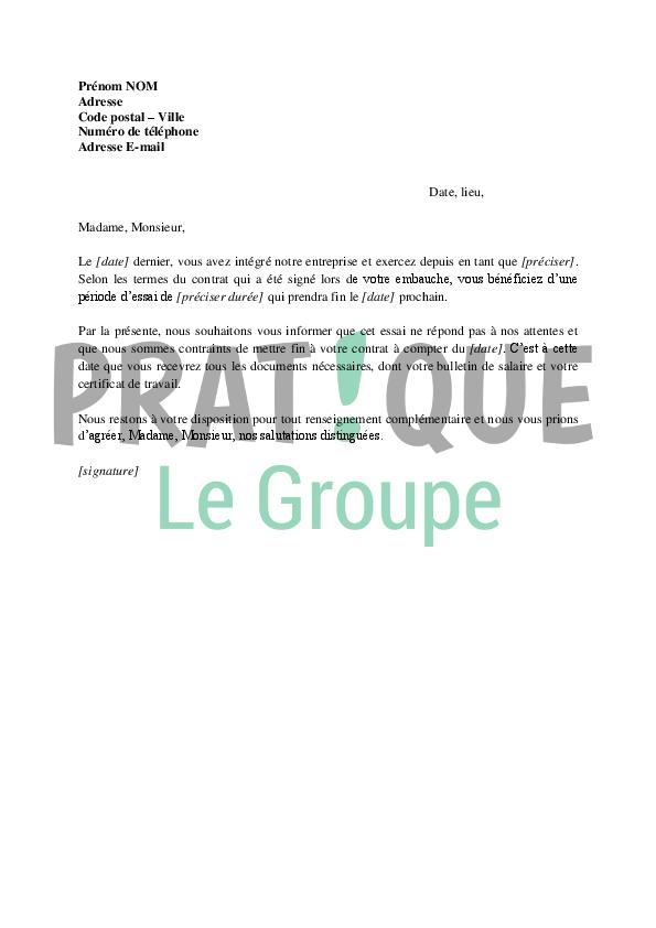 Lettre De Rupture De La Periode D Essai D Un Cdi A L Initiative De L
