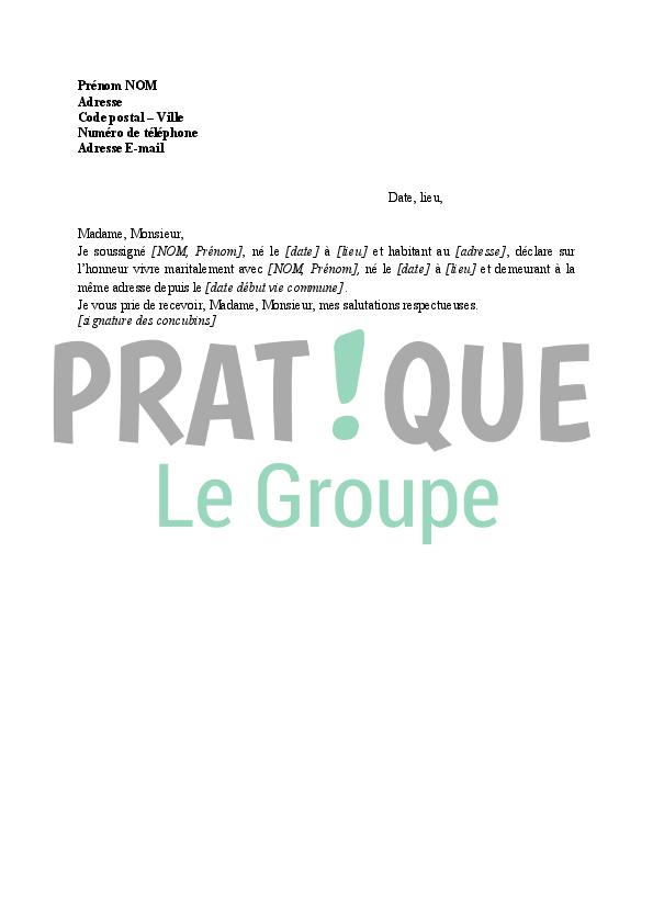 Lettre Declaration De Concubinage Pratique Fr