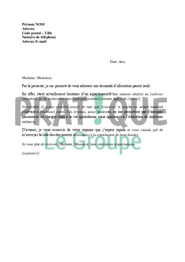 Lettre Demande D Allocation Parent Isole Pratique Fr