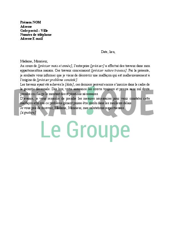 Modele lettre garantie decennale constructeur document online - Decennale dommage ouvrage ...