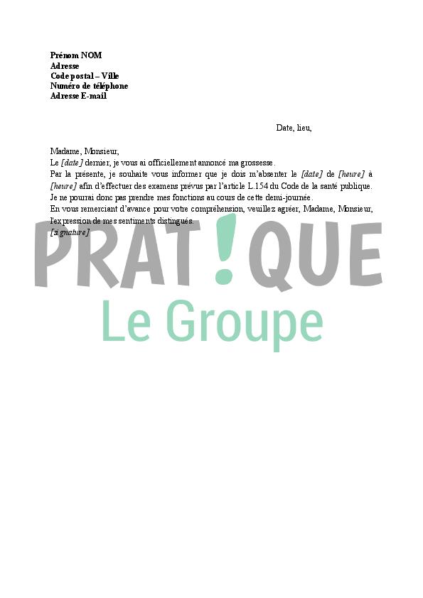 modele lettre heure de grossesse Lettre demande d'autorisation d'absence pour un examen de  modele lettre heure de grossesse