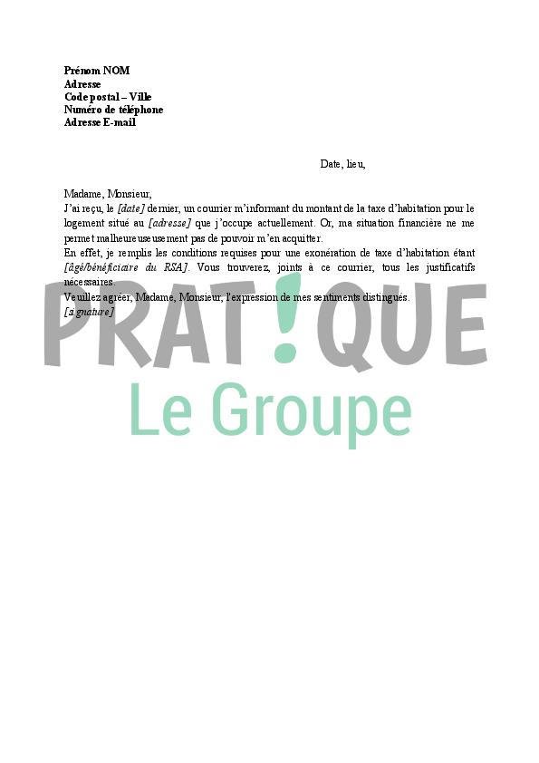 lettre demande d u0026 39 exon u00e9ration de la taxe d u0026 39 habitation