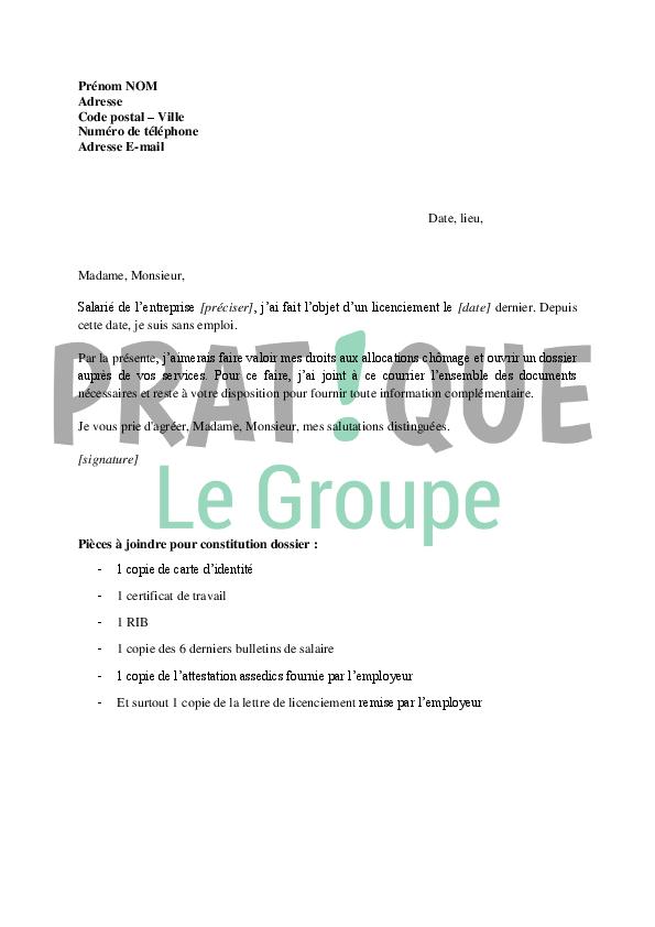lettre demande d u0026 39 ouverture aux droits de p u00f4le emploi suite