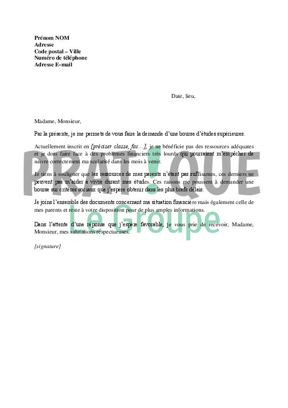 modele de lettre circonstanciée Lettre demande de bourse pour études supérieures (critères sociaux  modele de lettre circonstanciée