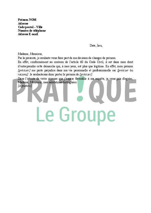Lettre Demande De Changement De Prenom Pratique Fr