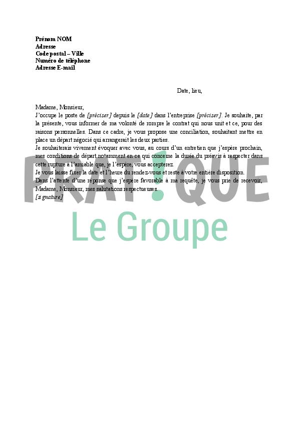 Lettre Demande De Conciliation Pour Un Depart A L Amiable Pratique Fr