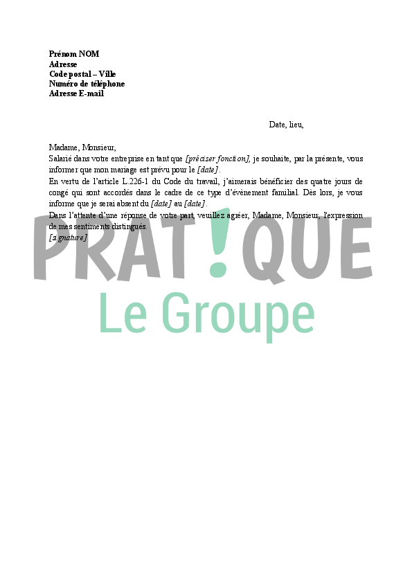 Lettre Demande De Conge Exceptionnel Pour Cause De Mariage Pratique Fr