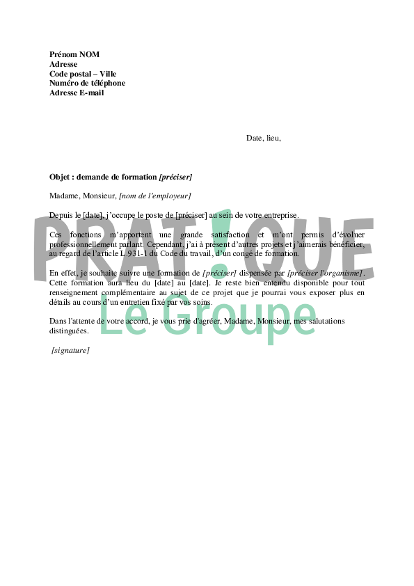 lettre de demande d inscription a une formation
