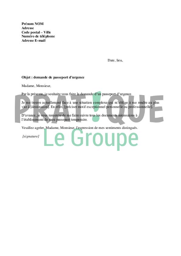 carte d identité urgence Lettre demande de passeport en urgence | Pratique.fr