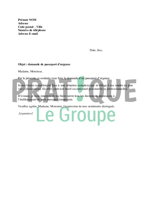 lettre demande de passeport en urgence