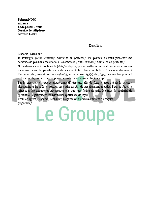 lettre type pension alimentaire