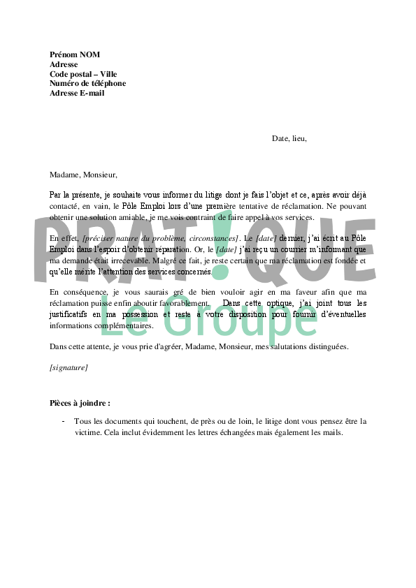 exemple de courrier pour faire appel