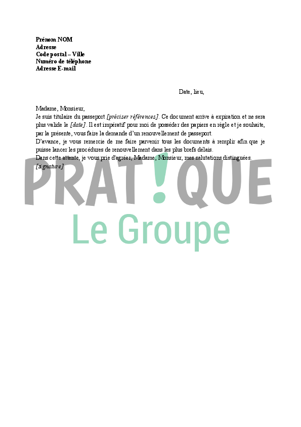 Lettre Demande De Renouvellement De Passeport Pratique Fr