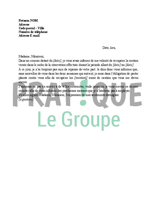 modele de lettre pour caution Lettre demande de restitution de caution (rappel) | Pratique.fr modele de lettre pour caution