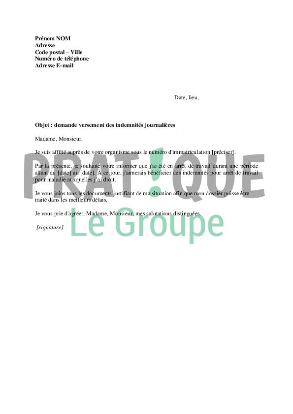 Lettre Demande Versement Des Indemnites Journalieres Pratique Fr