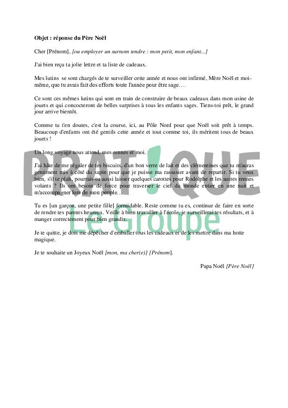 Le Pere Noel Repond Au Lettre.Lettre Du Pere Noel En Reponse A Un Enfant Pratique Fr