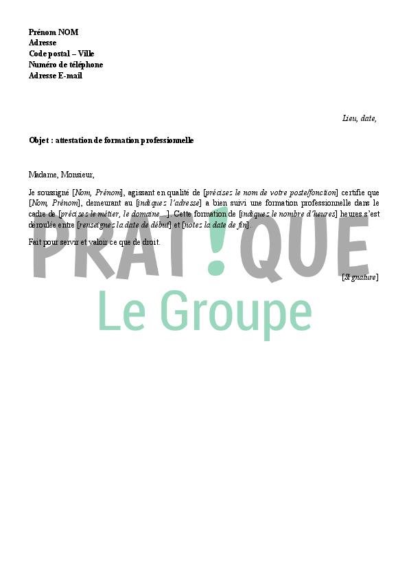 lettre mod u00e8le d u0026 39 attestation de formation professionnelle