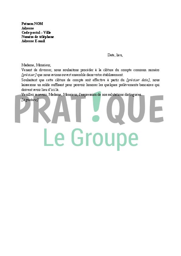 Lettre Pour Clore Un Compte Joint Apres Divorce Pratique Fr